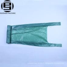 Gilet poignées vert sacs à ordures en plastique HDPE