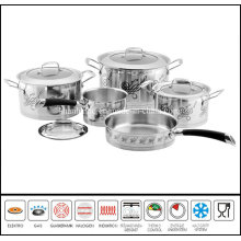 9PCS Decal Coasting Stainless Steel Cookware Set