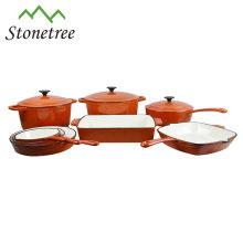 Juego de utensilios de cocina de hierro fundido color naranja, 5 piezas