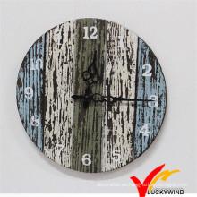 Shabby Chic Vintage retro colorido encanto de cuarzo de madera reloj de pared para la decoración del hogar