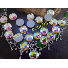 Piedras redondas Ab de 16 mm con dos orificios para accesorios de prendas de vestir