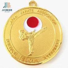 Suministre la medalla de los trofeos del karate del metal del deporte de la aduana 70 * 3m m del oro barato con la cinta