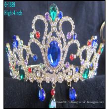 Костюмы оптового способа большие большие короны подгонянные голубые rhinestone тиары