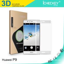 Hight Qualität 0,33 mm 3D ultradünnes Mobiltelefon 9H Hartglas für Huawei P9 plus Hartglas-Displayschutz