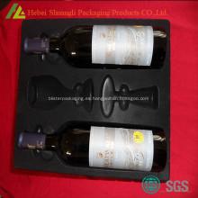 Ps flocados negro blister pack bandeja para botellas