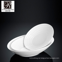 Hotel Ozean Linie Mode Eleganz weiße Porzellan ovale Suppe Schüssel PT-T0592