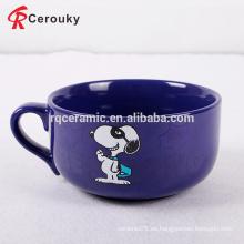 Taza de la taza de la sopa sensible al calor snoopy de gran tamaño de la venta de la fábrica