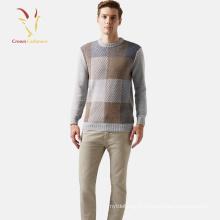 Chandail Intarsia en maille de cachemire avec encolure ronde style basique pour hommes