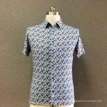 Camisa de manga corta con estampado de algodón para hombre.