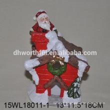 2016 casa de navidad cubierta cerámica santa claus estatuilla