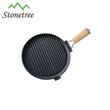 Cast Iron Skillet, Cast Iron Grill Pan With Foldable Wood Handle, Cast Iron Cookware