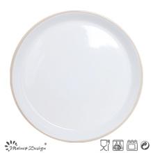 Placa de cena de cerámica de 27 cm dentro de gris exterior blanco