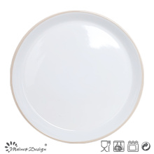 27cm Ceramic Dinner Plate Inside White Outside Grey