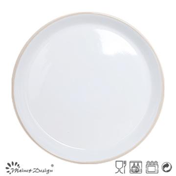 Plaque en céramique de 27cm à l'intérieur blanc extérieur gris