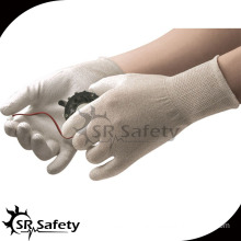 SRSAFETY esd white nylon-copper liner pu carbon gloves