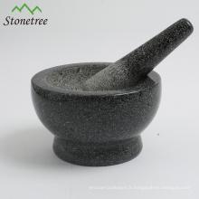 Mortier et pilon en pierre de broyeur de pilule de broyeur de pilule d'herbe d'épice