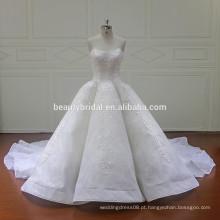 Mangas compridas eleant perspective vestido de noiva de linha