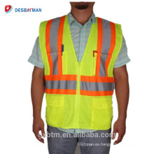 ANSI / ISEA Hi Vis Workwear Jacket High Visibility 100% Polyester Mesh Heavy Duty Chaleco de seguridad con bolsillos reflectantes para cintas