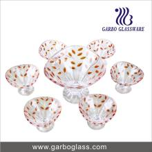 7PCS Glass Ice Cream Bowl with Color Leaf (TZ7-GB16013-P1)