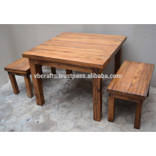 Solid Wooden Outdoor Dining Table set Reclaimed Railway Sleeper