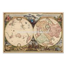 Arte antiguo de la lona del mapa del vintage / arte abstracto grande de la pared / ilustraciones enmarcadas al por mayor