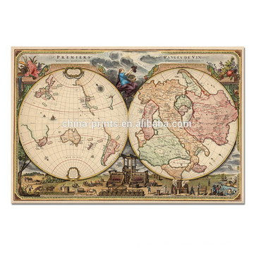 Vintage Old Map Canvas Art/large Abstract Wall Art/Wholesale Framed Artwork
