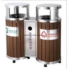 Papelera de reciclaje de madera respetuosa del medio ambiente al aire libre (DL39)