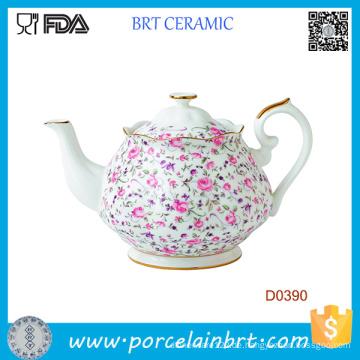Rose Confetti Weiß Formale Vintage Teekanne aus Keramik