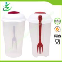 Vente en gros de tasse de salade en plastique avec des récipients à fourche et à vinaigrette