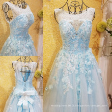 Frete Grátis Amostra Real Light Blue Beading Evening Dresses 2016 Crystal Flower Applique Open Back Bow Sash Party Gown ML183