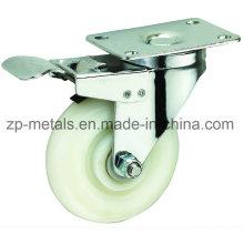 Roue de roulette PP blanche avec frein de 3 pouces