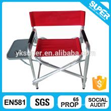 Cadeira ajustável de diretor de praia com mesa e porta copo