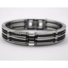 Bulk suministro de acero inoxidable baratos pulseras de silicio para los hombres