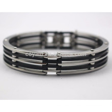 Bulk fornecimento barato aço inoxidável silício pulseiras para homens
