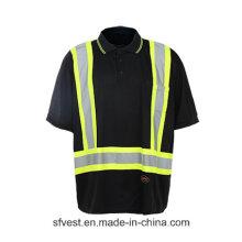 Hochwertiges Sicherheits-Reflex-T-Shirt mit schwarzer Farbe