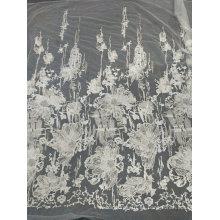 Bordado de encaje blanco único hecho a mano para el vestido de boda 10