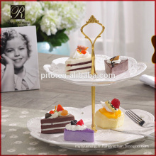 Pour Wedding 2 Tie White Cake Ceramic Stand