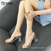 Higher quality gold and sliver sexy diamond transparent sandals lady slipper