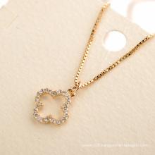 Personalized newest design delicate flexible clover cz pendant necklace