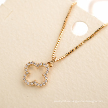 Персонализированные новейшие дизайн деликатный гибкий клевер cz кулон ожерелье