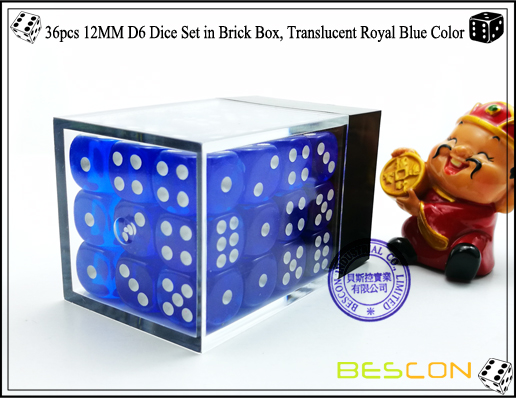 36pcs 12MM D6 Dice Set in Brick Box, Translucent Royal Blue Color-3
