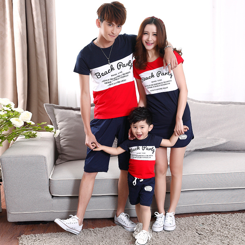 2018 summer seaside family T-shirt suit.