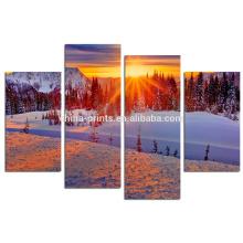 Impressão das canvas da paisagem do inverno / arte da lona do nascer do sol da montanha / 4