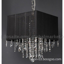 UL modern  crystal pendant light square shade