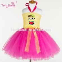 2017 nova moda Bonito Minions Meninas Vestido Cosplay Minion Meninas Tutu Vestido de Festa de Princesa de Desempenho Vestidos de Tule atacado