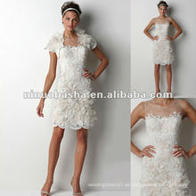 Rose gemusterte Re-bestickte Spitze Bolero und Mini-Hochzeitskleid