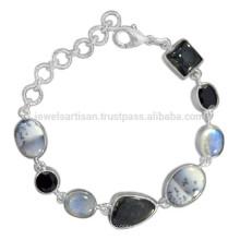 Dendritic Ópalo Rainbow Moonstone Negro Onyx Rutileted & 925 pulsera de plata de ley