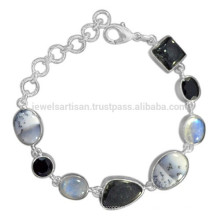 Dendritique Opal Rainbow Moonstone Black Onyx Rutileted & 925 Sterling Silver Bracelet