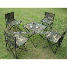 Cadeiras de acampamento dobráveis e conjunto de tabelas