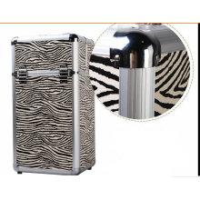 Trolley Fashion Zebra Pattern Professional Cosmetic Case